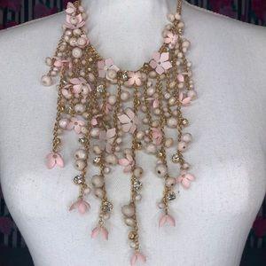 Torrid Blush Floral Fringe Statement Necklace